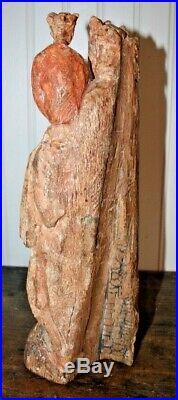 Antique CARVED WOOD Folk Art Sculpture Madonna Mother JESUS Santos POLYCHROME