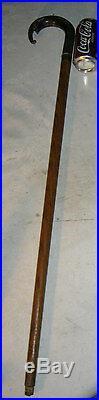 Antique Carved Ram Horn Sterling Wood Elephant Head Walking Stick Cane Sculpture
