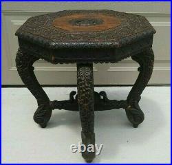 Antique Carved Table Hindu Narasimha Cobra Burmese Anglo Indian style