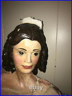 Antique Carved Wood & Gesso Figurehead Nude Sculpture architectural remnant
