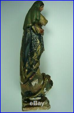 Antique Carved Wood Polychrome Praying Madonna Figure Virgin Mary Sculpture 12'
