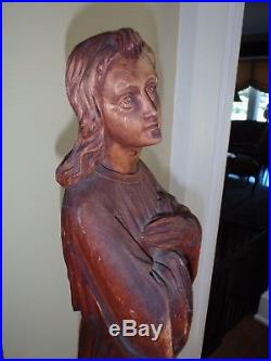 Antique Carved Wood Religious Angel Statue Or Sculpture