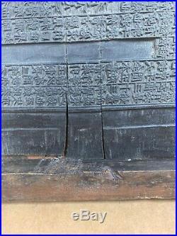 Antique Chinese Korean Hanja Hand Carved Temple Wood Printing Blocks Rare