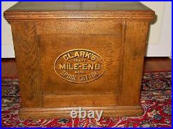 Antique Clark's six drawer oak spool thread cabinet-spoon carving-15593