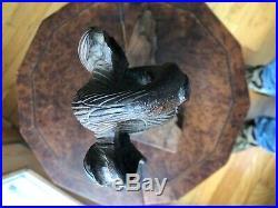 Antique Early Americana Hand Carved Walnut Wood Eagle Sculpture Folk Art c1860