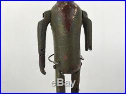 Antique Early Tin Man Dancing Jig Minstrel Wood Carved Folk Art Toy Sculpture