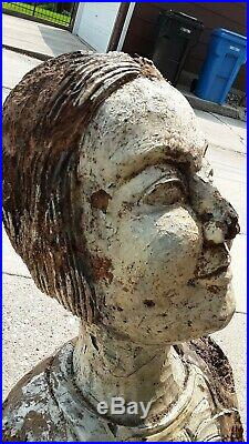 Antique Figurehead 19th Century American Folk Art Carved Wood Nautical Sculpture