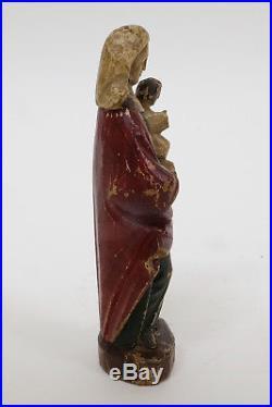 Antique Flemish Carved Wood Sculpture Statue of Madonna & Child 17th Century