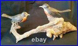 Antique Folk Art Birds on Limb Sculptures Hand Carved Wood 17