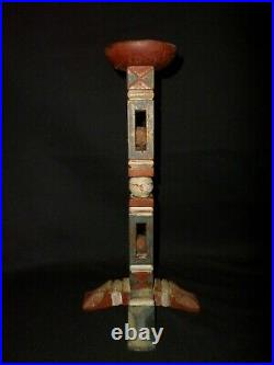 Antique Folk Art Carved Whimsey Polychrome Painted Americana AAFA Candle Stick