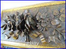 Antique French Large Hand Wood Carving Black Forest Jewerly Box Roses Flowers