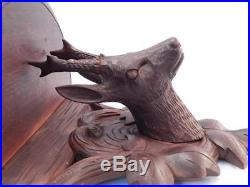 Antique Hand Carved Black Forest Roe Buck Deer Wall ShelfSolid Wood Sculpture