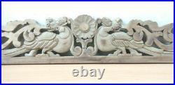 Antique Hand Carved Dragon Wall Hanging Wooden Panel Yalli Vintage Estate decor
