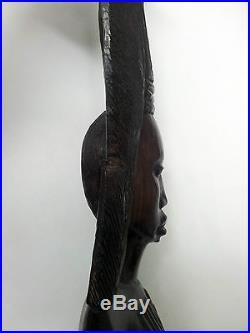 Antique Hand Carved Woman Wood Bali Art Statue Ebony African Egiptian Sculpture