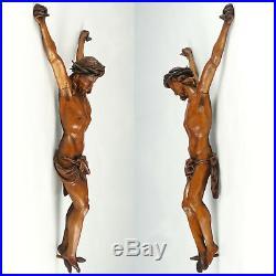 Antique Hand Carved Wood Corpus Christi Jesus Christ Sculpture Figure