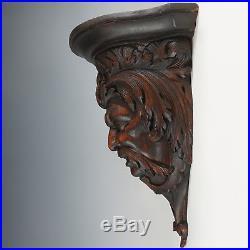 Antique Hand Carved Wood Sculpture Wall Mount Shelf Bracket, Mythological Figure