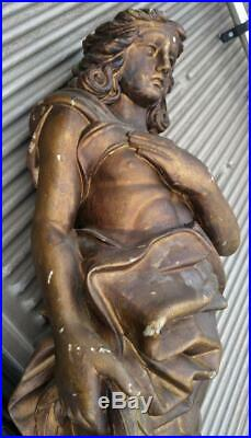 Antique Hand Carved Wood Statue Man Carving Art Sculpture Architectural Salvage