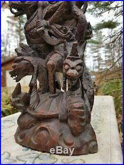 Antique Indian Hand Carved Wood Hindu Mythology Winged Griffin Dragon Sculpture