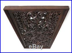 Antique Kanok Flower Branch Carved Wood Home Wall Panel Decor Statue Art gtahy