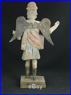 Antique Mexican Hand Carved Wood Winged Santos Polychrome Sculpture 15