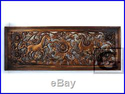 Antique Nice 2 Horse Carved Wood Home Wall Panel Mural Decor Art Statue FS gtahy