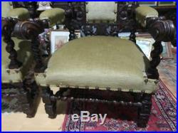 Antique Pair of Two Gothic Carved Oak Castle Throne Armchairs Chair Carving Wood