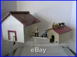 Antique Primitive Folk Art Wood Carvings Sculpture Barn Dog House carved animals