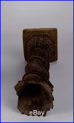 Antique Sculpture 18th C Wicca Carved Wood Snake Figure Crystal Ball Candelabra