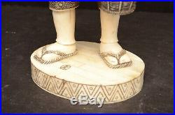 Antique Sculpture statue figure Chinese Hand Carved Wood & Bovine Bone VTG man