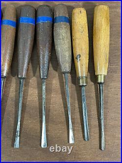 Antique Set Herring Brothers Prize Medal Wood Carving Chisels Gouges & Mallet