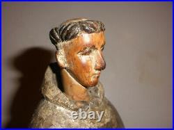 Antique Spanish Santos 17/18thc carved wood monk Saint Sculpture figure museum