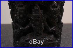Antique Thai Carved Wood Sculpture Dragon and Naga! Dark Hardwood Hand Carved