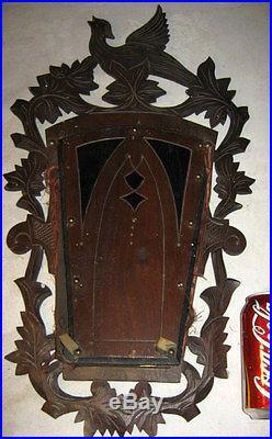 Antique Victorian Carved Black Forest Wood Bird Wall Art Rack Holder Sculpture