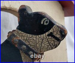 Antique Vintage American Folk Art Dog House Pitbull Jewel Collar Original Paint