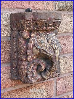 Antique Vintage Indian Hand Carved Wooden Teak Elephant Sculpture c1850 India