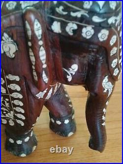 Antique Vintage Large Heavy Anglo-indian Inlaid Elephant Carved Exotic Wood