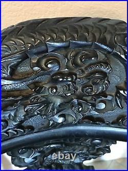 Antique Wood Dragon Chair With High Relief Carving. Victorian Dragons