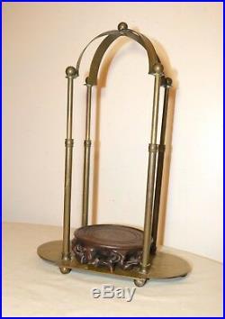 Antique adjustable brass hand carved wood santos sculpture stand display base