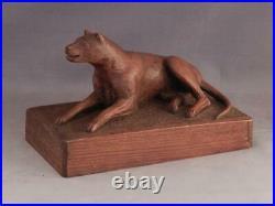 Antique c1920 Folk Art Primitive Wood Carving of DogAttrib to Samuel Thatcher