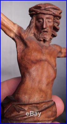 Antique hand Carved Wood Crucifix Corpus Jesus Christ Sculpture Statue Figure