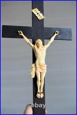 Antique hand carved Christ, sculpture, crucifix 19th Century, ebony wood cross
