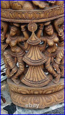 Antique18c- 19c South Asia Large Scale Wood Temple Pierced Carving 61h