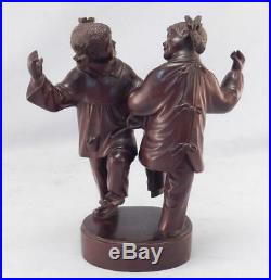 AntiqueVintage Chinese Asian Finely Hand Carved Wood SculptureDancing Girls