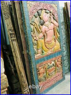 Artistic Indian Carving Door Panel RAMA Vintage Hand Carved Wood Sculpture 72x36