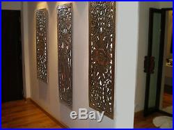 Asian Carved Wood Wall Decor Panel Fl Art