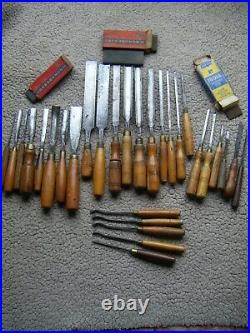 Assorted lot of 29 vintage wood carving chisels