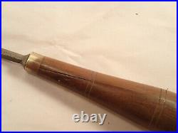 Atqe Lot of 9 BUCK BROTHERS Cabinetmaker Carving Chisels with R-WOOD Mahog. Hdles