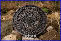 Aztec Calendar Sun Stone full relief wood carving