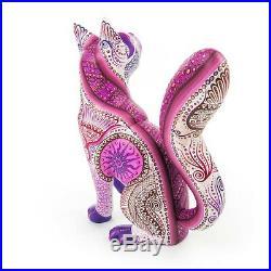 BEAUTIFUL CAT Oaxacan Alebrije Wood Carving Mexican Art Animal Sculpture Decor