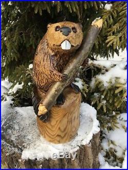 BEAVER Chainsaw Carving SASSAFRAS WOOD Sculptures Rustic Log Home Decor Folk Art